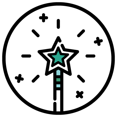 2-Day Brand Intensive Icon - magic wand in a circle